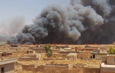 حرائق هائلة تلتهم حقول القمح في قضاء سنجار العراقي