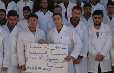 Idlib medical students protest Tahrir al-Sham